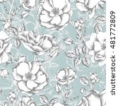 Sketched Roses Seamless Patter...