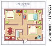 home design top view with... | Shutterstock .eps vector #481787221