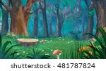 mushrooms around the stump in a ... | Shutterstock . vector #481787824