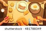 breakfast table top view in... | Shutterstock .eps vector #481788349