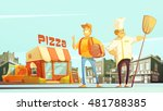 Pizza delivery flat vector illustration in cartoon style with chef courier yellow minibus for delivery and pizzeria at town landscape