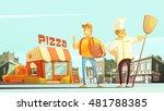 pizza delivery flat vector... | Shutterstock .eps vector #481788385