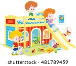 little children playing in in a ... | Shutterstock .eps vector #481789459