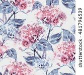 watercolor hortensias seamless... | Shutterstock . vector #481796539