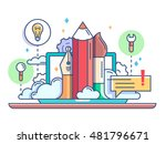 design concept pencil and brush.... | Shutterstock .eps vector #481796671
