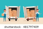 good and bad workers in uniform.... | Shutterstock .eps vector #481797409