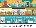 happy family child dinner flat... | Shutterstock .eps vector #481798255