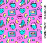 seamless pattern with fashion... | Shutterstock .eps vector #481800031