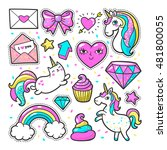 Fashion patch badges with unicorns, hearts, cats, rainbow and other elements for girls. Vector illustration isolated on white background. Set of stickers, pins, patches in cartoon 80s-90s comic style. | Shutterstock vector #481800055