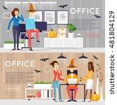 happy halloween poster  banner  ... | Shutterstock .eps vector #481804129