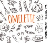 omelette card with elements of... | Shutterstock .eps vector #481807495