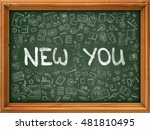 green chalkboard with hand... | Shutterstock . vector #481810495