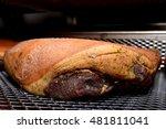 smoked ham in industrial... | Shutterstock . vector #481811041