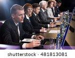 speaker talking via microphone... | Shutterstock . vector #481813081