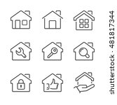 real estate house icons set ... | Shutterstock .eps vector #481817344