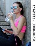 girl drinks water and listening ...   Shutterstock . vector #481819621