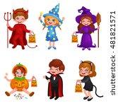 happy halloween. set of cute... | Shutterstock .eps vector #481821571