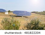 Blue Solar Panels In Field...