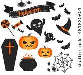 set of cute vector halloween... | Shutterstock .eps vector #481830601