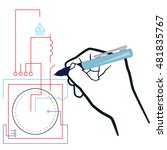 drawing electrical diagrams ... | Shutterstock .eps vector #481835767