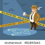 detective at crime scene. dead... | Shutterstock .eps vector #481842661