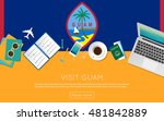 visit guam concept for your web ... | Shutterstock .eps vector #481842889
