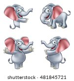 a friendly elephant cartoon... | Shutterstock .eps vector #481845721