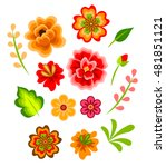 set of colorful red and yellow... | Shutterstock .eps vector #481851121