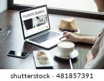 Small photo of Young woman sitting in cafe with cup of coffee and cakes, working on laptop computer, searching for flight using on-line web service, booking round trip airplane ticket. Closeup view over the shoulder