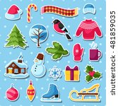 set of winter stickers. merry... | Shutterstock .eps vector #481859035