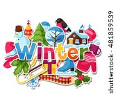 background with winter stickers.... | Shutterstock .eps vector #481859539