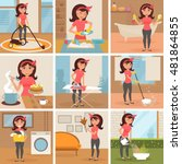 housewife. cleaning  cooking ... | Shutterstock .eps vector #481864855