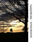 silhouette of couple walking... | Shutterstock . vector #481869091