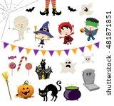 cute halloween characters... | Shutterstock .eps vector #481871851