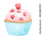 watercolor cupcake  isolated in ... | Shutterstock . vector #481880905