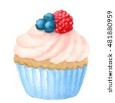 Watercolor Cupcake  Isolated I...