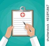 clipboard in doctors hand. make ... | Shutterstock . vector #481891867