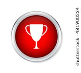 trophy cup icon on red round...