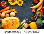 autumn food background. healthy ... | Shutterstock . vector #481901869