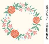 beautiful floral circular frame.... | Shutterstock . vector #481902301