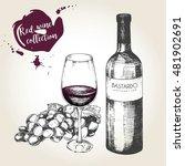 vector set of red wine in... | Shutterstock .eps vector #481902691