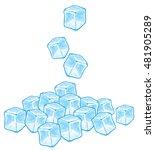 falling ice cubes vector... | Shutterstock .eps vector #481905289