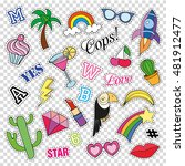 fashion patch badges with... | Shutterstock .eps vector #481912477