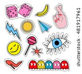 a set of quirky cartoon patch... | Shutterstock .eps vector #481917961