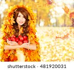 Autumn Apples  Woman Holding...