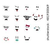 set of fun emoticon smileys... | Shutterstock .eps vector #481930069