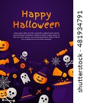halloween concept banner with... | Shutterstock .eps vector #481934791