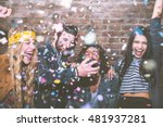 friends making big party in the ... | Shutterstock . vector #481937281