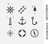 set of black sea theme icons of ... | Shutterstock .eps vector #481939849