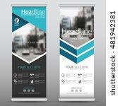blue hexagon roll up business...   Shutterstock .eps vector #481942381